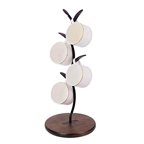 Coffee Cup Holder Cup Storage Rack with 4 Hooks  Simple and Stylish Solid Wood Base Saving Space Used for bar Coffee Counter and Kitchen Storage