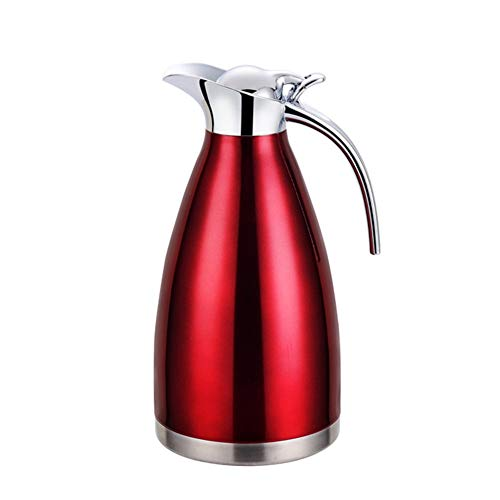 GUOCU Pot de Café 304 Acier Inoxydable Double-Wall Vacuum Isolé Café Pot Thermos Plongeur de café Jus/Lait/Pot d'isolation,Rouge,2 L(24 Hours Insulation)