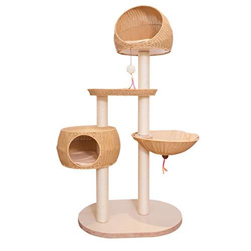 ZHNA- Katzenkletterbaum, 160 cm, handgefertigt, mehrere Ebenen, PP-Seil, Katzenbaum, Katzenbaum mit Kratzstämmen, Sitzstange, baumelnden Bällen