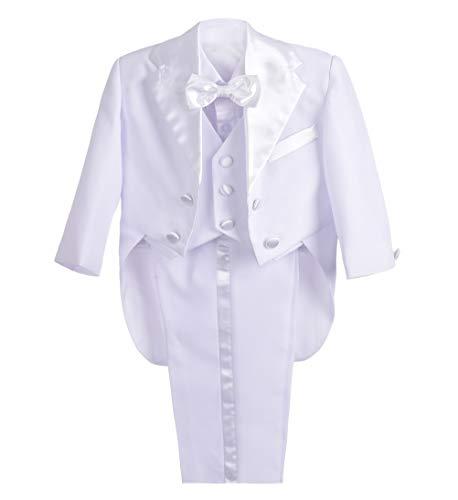 Lito Angels Conjunto de 5 Piezas Trajes Vestir para niños bebé, Esmoquin Formal con Cola, Traje de Caballero de Boda Fiesta Ceremonia (Blanco) 12 Meses