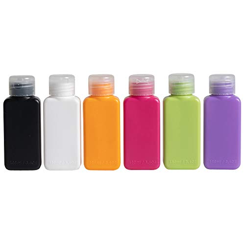 Klickpick Home Leak Proof Plastic Squeezable Refillable Containers Travel Bottles 3.3 Oz TSA Approved for Shampoo, Lotion, Creme, Soap, Essential Oils, Toiletries (Pack of 6)