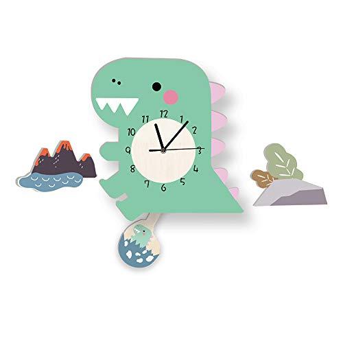 Martin Kench Reloj de pared infantil con diseño de animales en 3D, sin sonido de tictac, bonito reloj para niños, decorado, habitación de los niños, salón (dinosaurio