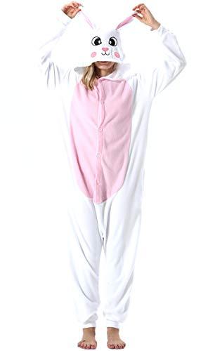Pijama Animal Entero Unisex para Adultos con Capucha Mujer Hombre Cosplay Pyjamas Ropa de Dormir Traje de Disfraz para Festival de Carnaval Halloween Navidad Blanco Conejo para Altura 148-187cm
