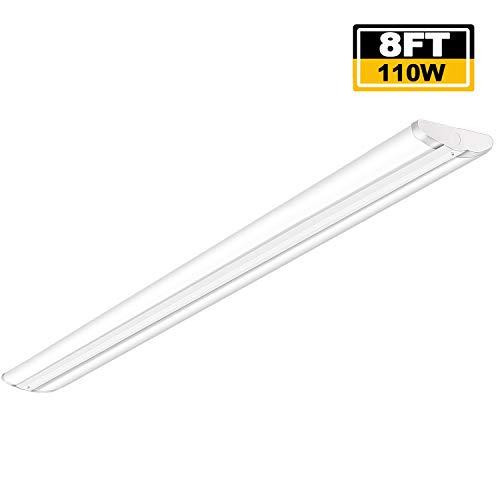 AntLux 110W 8FT LED Wraparound Ultra Slim Strip Lights, 12600 Lumens, 5000K, 8 Foot LED Garage Warehouse Light, No Glare, Flush Mount Office Ceiling Lighting Fixture, Fluorescent Tube Replacement