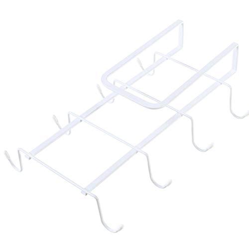 Taladro debaño- colgador de armario colgador de herramientas de cocina creativo taza trapo ganchos para toallas estante de almacenamiento-blanco