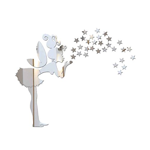 Gankmachine Dormitorio Hada Estrellas Espejo Etiqueta de la Pared de la Niña Estrellas Mirrord Adhesivos de Bricolaje acrílico Niños Decoración del Papel Pintado Plata