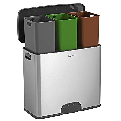 Homra Papelera de reciclaje con sensor de 45 L (3 x 15 L) - Cubo de basura con pedal sin contacto con 3 compartimentos - Acero inoxidable - Tapa automática softclose - Kick me 45L