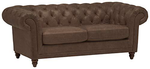 Amazon Brand – Stone & Beam Bradbury Chesterfield Tufted Leather Loveseat Sofa Couch, 78.7'W, Chestnut Brown
