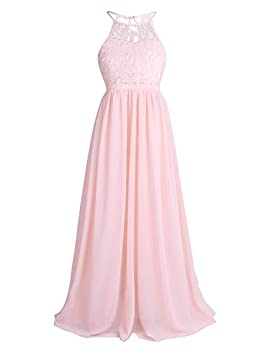 CHICTRY Kids Girls Halter Neck Chiffon Long Party Junior Wedding Evening Prom Maxi Gown Dress Pearl Pink 14