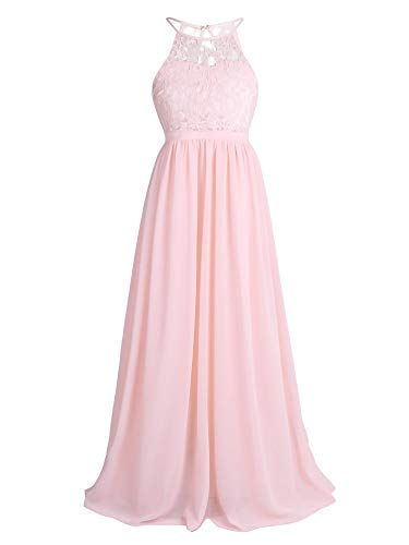 CHICTRY Kids Girls Halter Neck Chiffon Long Party Junior Wedding Evening Prom Maxi Gown Dress Pearl Pink 14 California