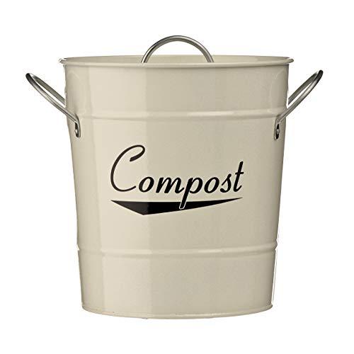 Komposteimer aus verzinktem Stahl (pulverbeschichtet) mit Zink-Griffen, Inneneimer aus Kunststoff, Beige