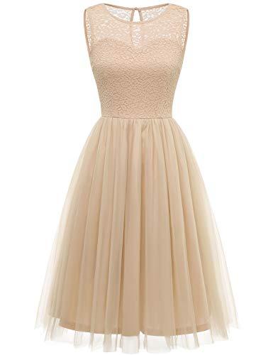 Bbonlinedress tüllrock faschingskostüme Damen tütü Cocktailkleid Tüll Kleid Brautjungfern Partykleid Abendkleid Champagne S