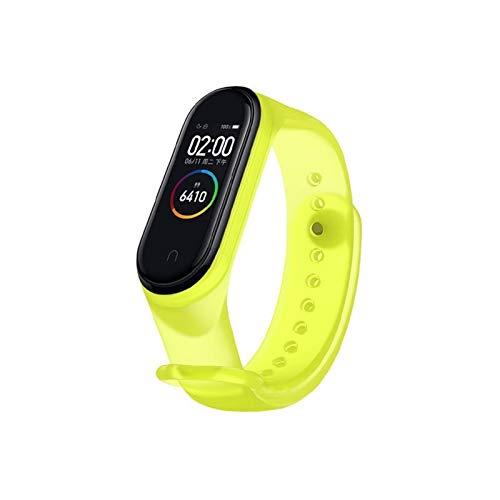 DALIANMAO Correa de reloj para Mi 5 4 correa de silicona transparente para Mi 3 5 pulsera deportiva (color: amarillo transparente, tamaño: para Mi 4 3)