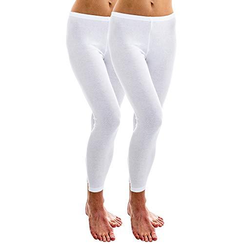 HERMKO 1720 2er Pack Damen Legging aus 100% Bio-Baumwolle, Legging, Farbe:weiß, Größe:52/54 (XXL)