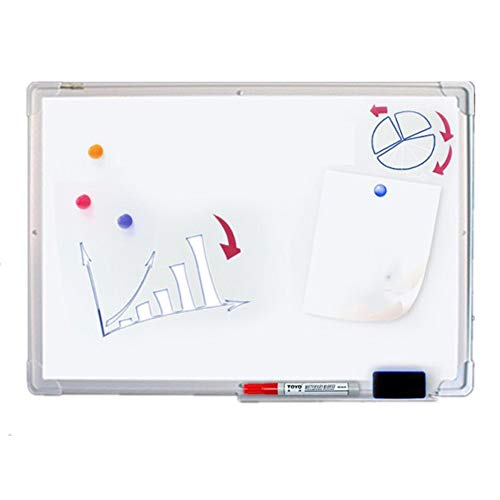 PU-office Tableau Blanc magnétique de drywipe avec Le Plateau de Stylo et Le Coin en Plastique de Garniture en Aluminium Décoration de Maison (Couleur : Blanc, Taille : 90x120cm)