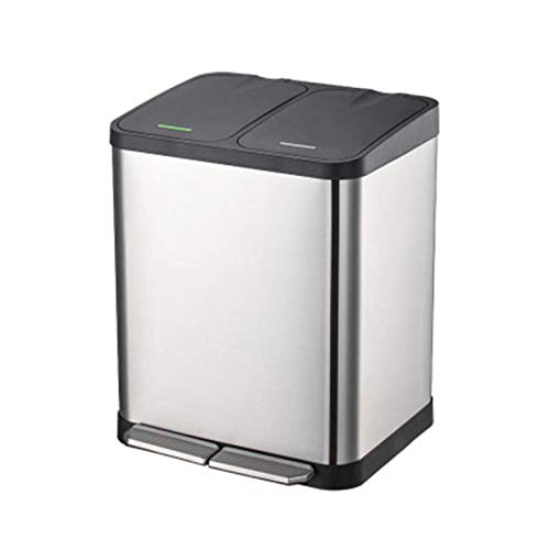 LACALA Dual Step Trash Can, 5 Gallon (18L) Fingerprint Proof Stainless Steel Garbage Can, 2 x 9L Classified Recycle Trash Bin with Plastic Inner Buckets and Hinged Lids, Soft Close and Airtight Seal