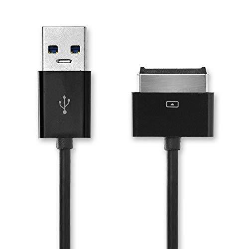 CELLONIC® Câble de données USB (1m) Compatible avec ASUS Eee Pad Slider SL101/Transformer TF101/TF101G/Prime TF201/Pad TF300T (40 Pin(Dock Connector) vers USB A(Standard USB)) Câble Data USB Noir