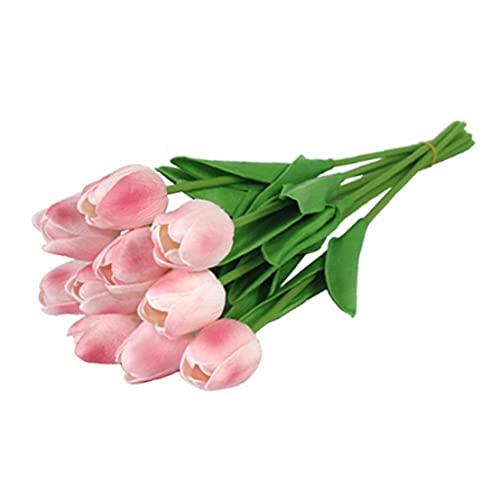 YepYes Flores Artificiales Tulipanes simulación Flores Fake Flor de látex Material Real Toque Real para la Fiesta de Bodas Decoraciones para el hogar Claro Rosa casero jardín Padre Regalo de día