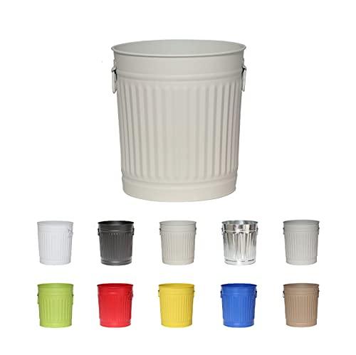 Jinfa | Cubo de basura de metal con asas | Contenedor vintage para interiores, reciclaje | Sin tapa | Blanco Crema | Tamaño: L | 36 cm de diámetro, 36,5 cm de altura | Volumen: 35 Litros