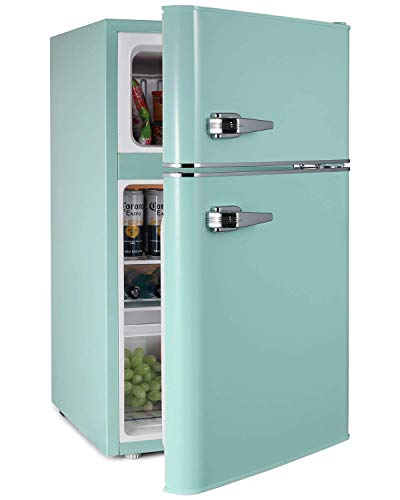 3.2 CU. FT. Mini Fridge With Freezer - 2 Door MIni Fridge Chiller and Freezer Compartment with Removable Glass Shelves - Small Drink Food Storage Cooler for Office, Dorm, Apartment, Bedroom (GREEN)