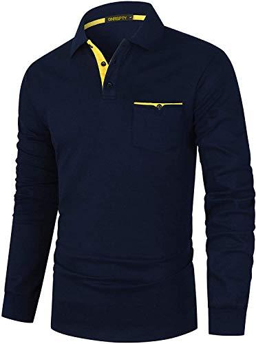 GNRSPTY Polo Manga Larga Hombre Algodon Slim Fit Camisetas Colores de Contraste con Bolsillos Reales Basic Golf Deporte Negocios T-Shirt Top,Azul,L