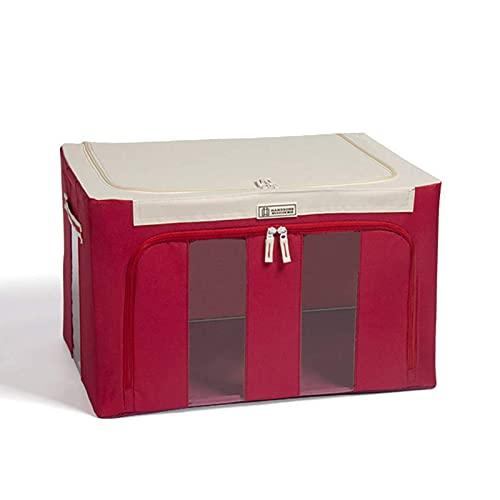 LEERAIN - Caja de almacenamiento con marco de acero Oxford para ropa, sábanas, manta de almohada, soporte para zapatos, organizador