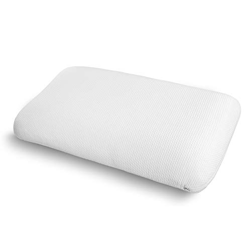 Ambesonne Visco Foam Pillow for Stiff Neck, Airing Holes Soft Pad with Health Benefits Effects Side Back and Stomach Sleepers Washable Polyester Cover, 36' X 20' X 5.5', White