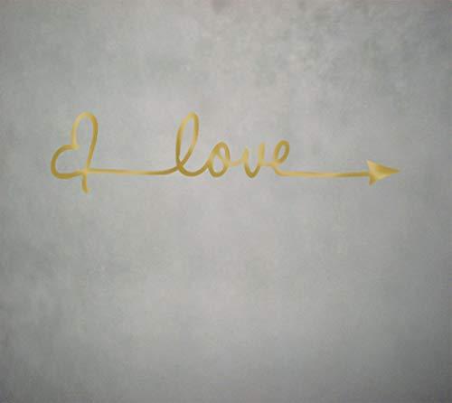 Love Herz Sticker Aufkleber Wandtattoo Wandaufkleber Wand Schlafzimmer Modern Selbstklebend Romantisch Liebe (Gold, XS 29cm x 8cm)