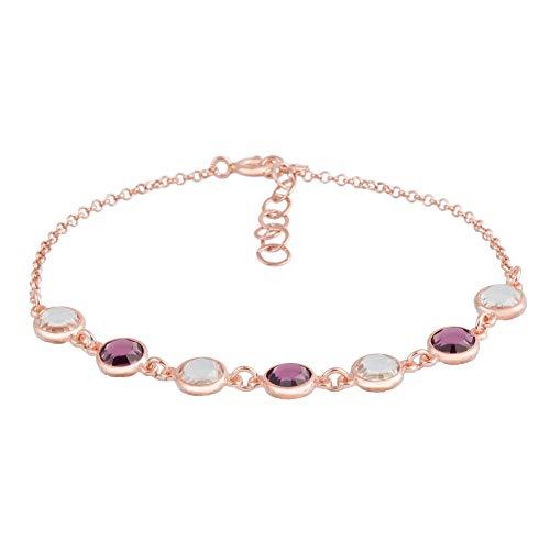 Córdoba Jewels | Pulsera en Plata de Ley 925 bañada en Oro Rosa con Cristales by Swarovski con diseño Amatista Swarovski Rose Gold