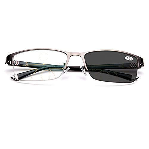 EYEphd Gafas de Lectura multifocales progresivas con Zoom automático Inteligente para Hombres, Gafas de Sol fotocromáticas para Exteriores / UV400 Ampliación +1.0 a +3.0,A2,+3.0