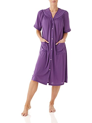 AmeriMark Snap-Front Duster Robe Housecoat Solid Color with Two Patch Pockets Purple 3X