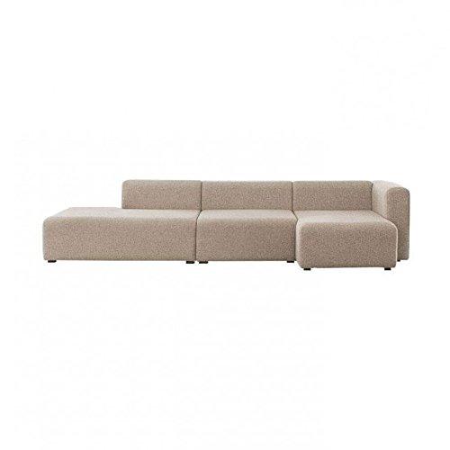 HAY Mags 3-Sitzer Sofa 304x127,5cm, beige Stoff Remix 233 Füße Kiefernholz schwarz gebeizt BxHxT 304x67x127,5cm