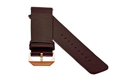 slow - Dunkelbraunes Lederband mit Rose goldenem Verschluss - 20mm Breite