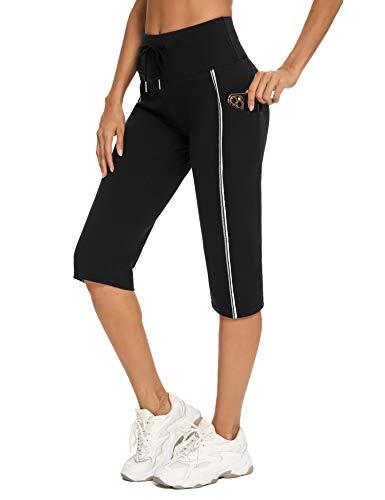 Irevial Jogginghose 3/4 Damen Sporthose Frauen Baumwolle Sweatpants Slim Fit Freizeithose 3/4 Trainingshose Fitness High Waist Jogger Laufhosen ModernStretch Hose