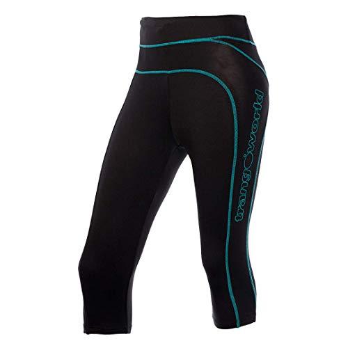 Trango pc008007 Pantalons Pantacourt, Femme XS Noir/Turquoise
