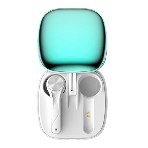 Auriculares inalámbricos con diseño de semi-in-ear Bluetooth con funda de carga portátil, auriculares estéreo impermeables con micrófono integrado compatible con iPhone, Samsung y otros smartphones