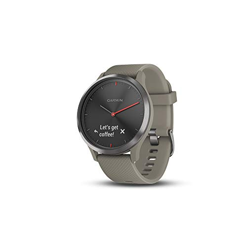 Garmin vívomove HR, Hybrid Smartwatch for Men and Women, Black w/Sandstone Silicone Band, Small/Medium, Model Number: 010-01850-13