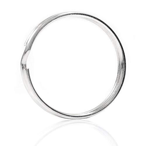 SODIAL 10X Quality 50Mm Keyring Split Ring Set Heavy Duty Large Nickel Key Loop Sprung Hoop