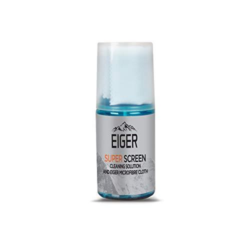 EIGER Super Screen Tech - Kit de higiene con solución de limpieza en spray y paño de microfibra, sin fragancia, 200 ml