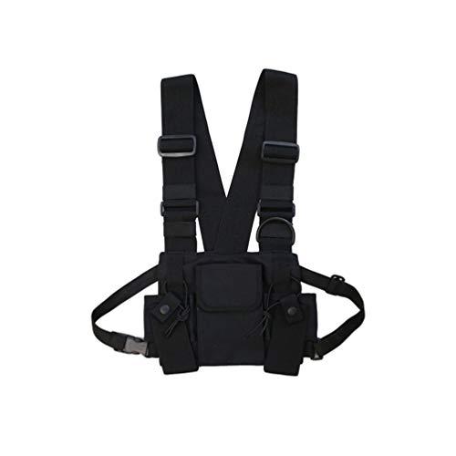Liangzhu Taktische Rucksäcke Brusttasche Harness Condor Modular Chest Rig Molle Weste Umhängetasche Hüfttaschen (Schwarz#4, 27 * 1 * 17.5cm)