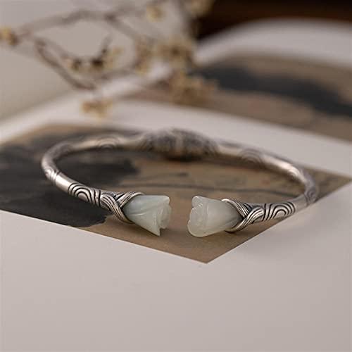 LIYDENG S925 Silver Hetian Jade Rose Flower Female Retro Pattern Simple Open Bracelet Silver Bangle (Color : A, Size : 925 Silver)