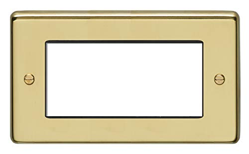 2 Gang Euro Module Frame Round Edge Polished Brass Plate White Interior
