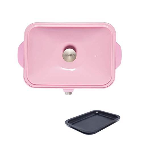 Gpzj Grillofen Haushalt Elektrisch Rauchfrei Multifunktions-Hot Pot Gebratener Braten Eintopf-Grillmaschine Handelsschale Koreanisches Teppanyaki (Farbe: Blau) (Farbe: Rot) HAOSHUAI (Farbe: Pink)