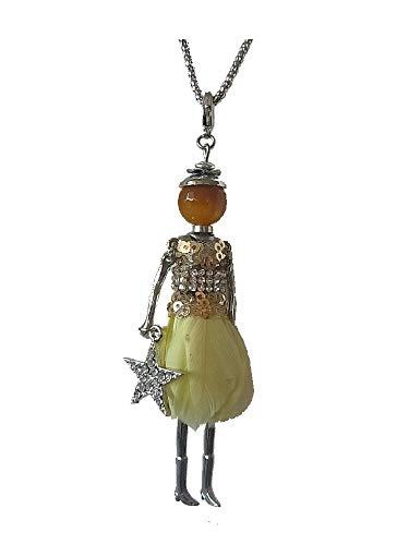 Collar largo con colgante de muñeca para mujer, vestido y pluma, color amarillo, con estrella y brillantes