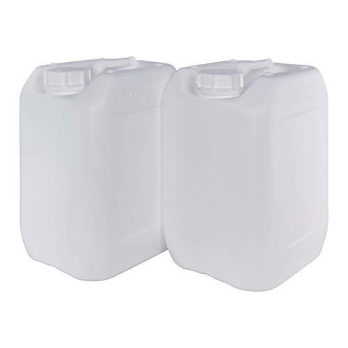 Garrafa Bidón Blanco Plástico 10 litros apilable. Apta para uso alimentario. Homologación para transporte. (2 Unidades).