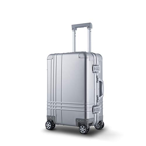 Bamboo Wolf 20-inch Aluminum-Magnesium Alloy Carry-on Hardside Suitcase Hard Shell Luggage, Built-In TSA Lock, Zipperless Fashion with Spinner Wheels for Travel / Business, Silver III