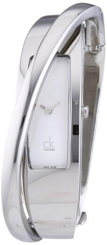 Calvin Klein K2J23101 - Reloj analógico de mujer de cuarzo con correa de acero inoxidable plateada