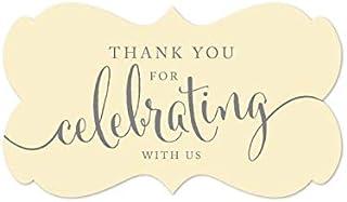ملصقات ملصقات ملصقات ملصقات بعلامة مستطيلة الشكل بتصميم Thank You for Celebrating with Us من Andaz Press، باللون العاجي، 3...