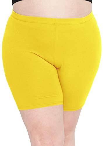 Stretch is Comfort Women's Cotton Plus Size Bike Shorts Yellow 3XL
