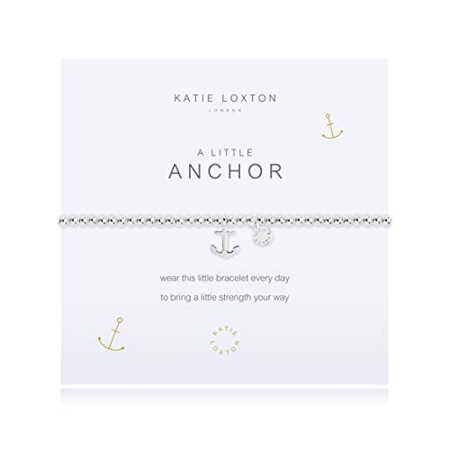 Katie Loxton A Little Anchor Strength Silver Women's Stretch Adjustable Charm Bangle Bracelet
